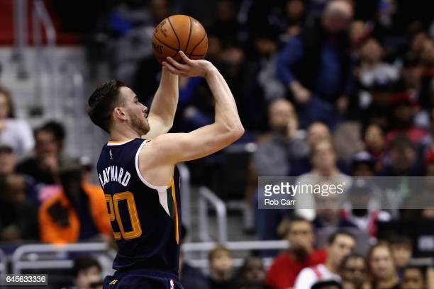 Gordon Hayward of the Utah Jazz puts up a shot against the Washington Wizards in the first half at Verizon Center on February 26 2017 in Washington...