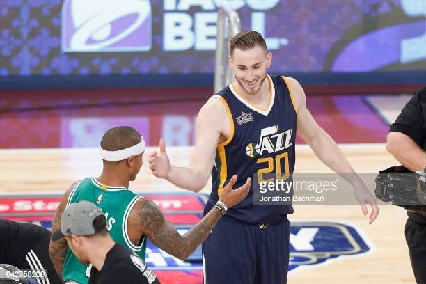 Gordon Hayward of the Utah Jazz reacts with Isaiah Thomas of the Boston Celtics during the 2017 Taco Bell Skills Challenge at Smoothie King Center on...