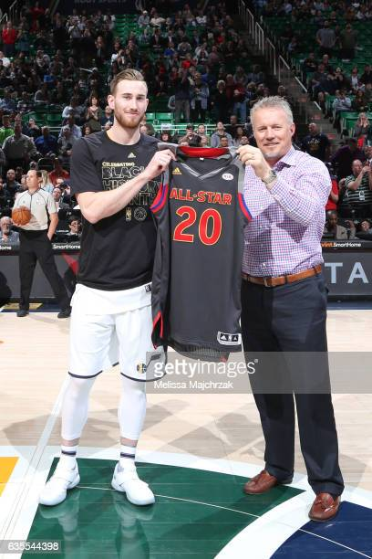 Gordon Hayward of the Utah Jazz receives his AllStar jersey before the game against the Portland Trail Blazers on February 15 2017 at vivintSmartHome...