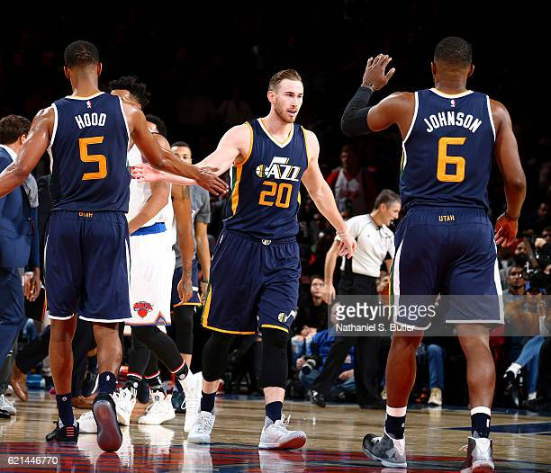 Gordon Hayward of the Utah Jazz shakes hands with his teammates during the game against the Utah Jazz on November 6 2016 at Madison Square Garden in...
