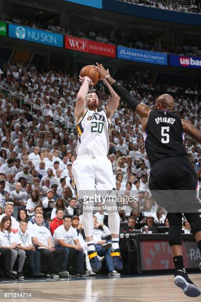 Gordon Hayward of the Utah Jazz shoots the ball against the LA Clippers during Game Three of the Western Conference Quarterfinals of the 2017 NBA...