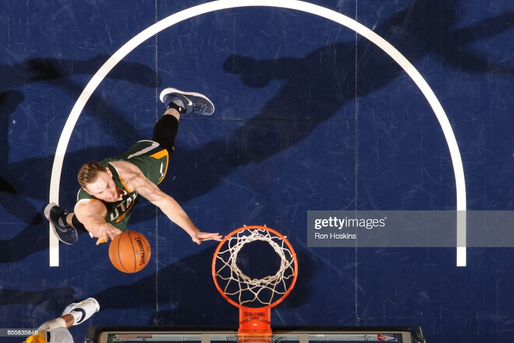 Gordon Hayward #20 of the Utah Jazz shoots the ball against the Indiana Pacers on March 20, 2017 at Bankers Life Fieldhouse in Indianapolis, Indiana.