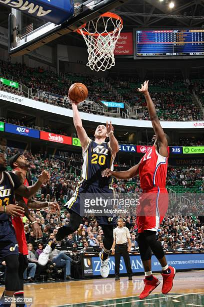 Gordon Hayward of the Utah Jazz shoots the ball against the Los Angeles Clippers on December 26 2015 at vivintSmartHome Arena in Salt Lake City Utah...