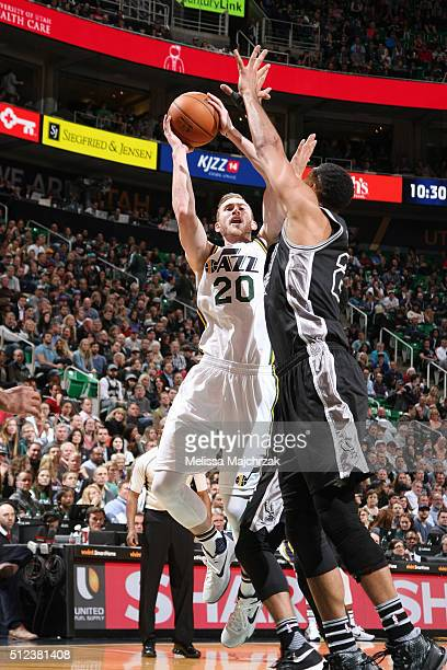 Gordon Hayward of the Utah Jazz shoots the ball against the San Antonio Spurs on February 25 2016 at vivintSmartHome Arena in Salt Lake City Utah...