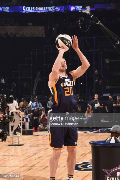 Gordon Hayward of the Utah Jazz shoots the ball during the Taco Bell Skills Challenge during State Farm AllStar Saturday Night as part of the 2017...