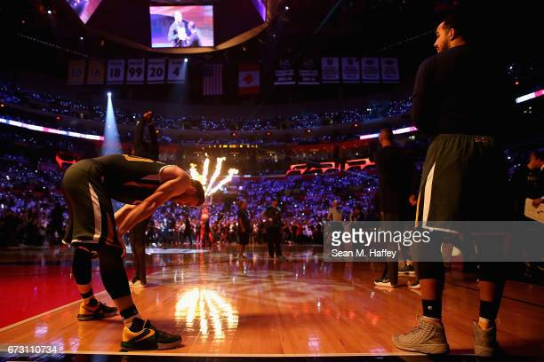 Gordon Hayward of the Utah Jazz stretches prior to Game Five of the Western Conference Quarterfinals against the Los Angeles Clippers at Staples...