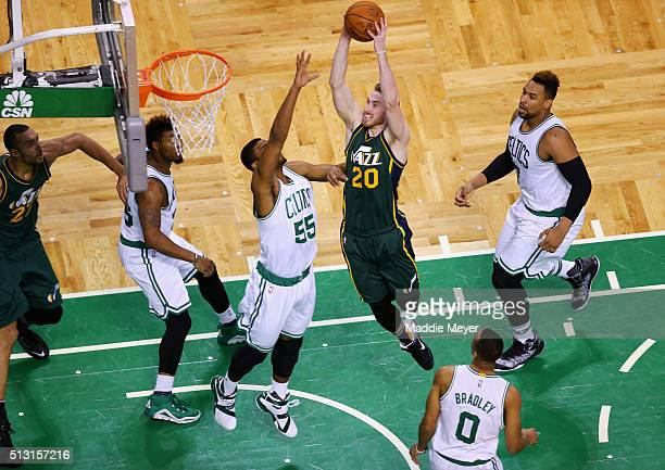 Gordon Hayward of the Utah Jazz takes a shot against Jordan Mickey of the Boston Celtics during the second quarter at TD Garden on February 29 2016...