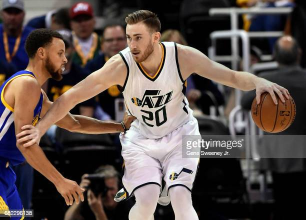 Gordon Hayward of the Utah Jazz tries to drive past Stephen Curry of the Golden State Warriors in Game Three of the Western Conference Semifinals...
