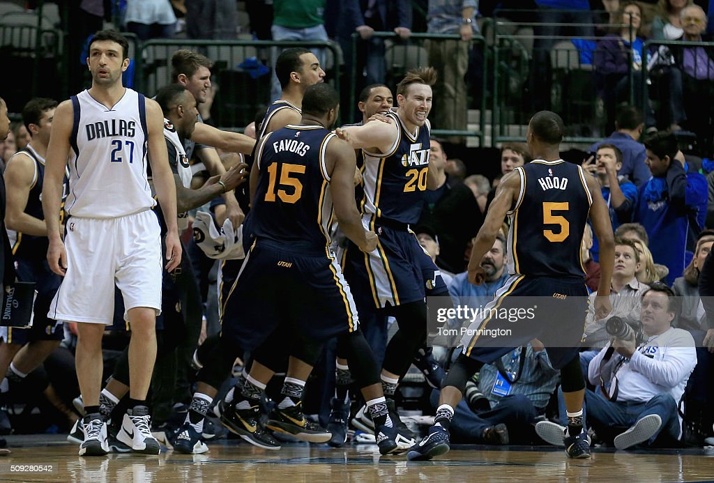 Gordon Hayward #20 of the Utah Jazzcelebrates with his team after shooting the game winning basket against Zaza Pachulia #27 of the Dallas Mavericks in overtime at American Airlines Center on February 9, 2016 in Dallas, Texas. The Utah Jazz beat the Dallas Mavericks 121-119.