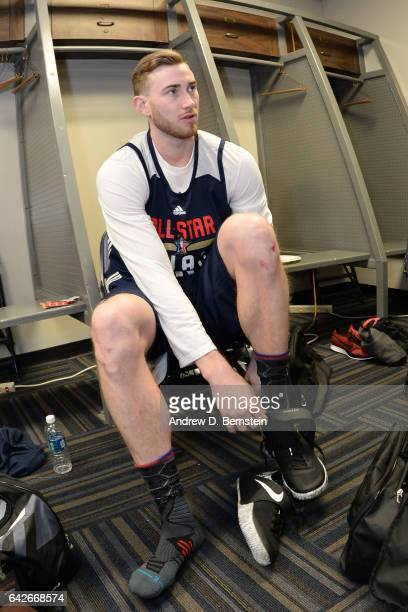 Gordon Hayward of the Western Conference AllStar Team gets ready for the 2017 NBA AllStar Practice as part of 2017 AllStar Weekend at the...