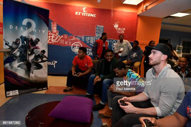 Gordon Hayward plays Destiny 2 with teen members of Boys Girls Clubs of Boston on December 13 2017 in Boston Massachusetts