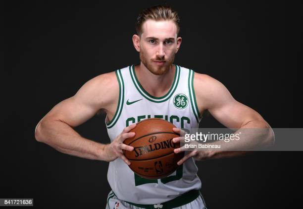 Gordon Hayward poses for a portrait after getting introduced as Boston Celtics on September 1 2017 at the TD Garden in Boston Massachusetts NOTE TO...