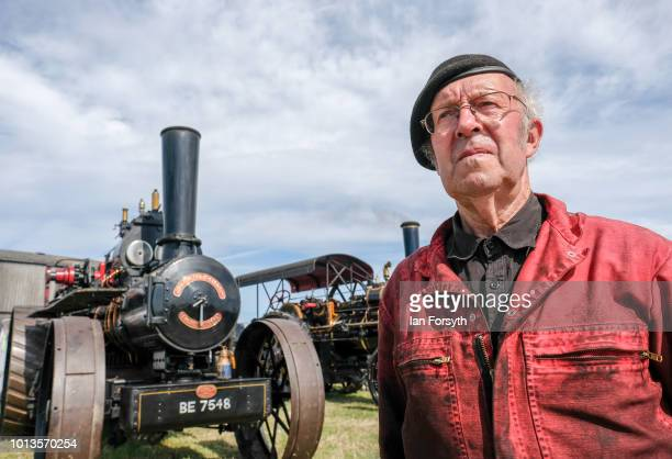 Gordon Hutton from Coningsby poses for a picture in front of his steam engine during the final day of the Whitby Traction Engine Rally on August 5,...