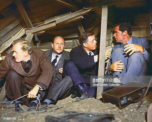 Gordon Jackson , British actor, Donald Pleasence , British actor, Richard Attenborough, British actor, and James Garner, US actor, sitting in the...