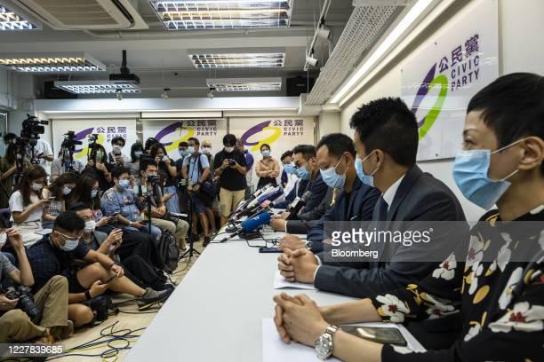 Gordon Lam, Jeremy Tam, Kwok Ka-ki, Alvin Yeung, Alan Leong, Dennis Kwok, Tat Cheng, Tanya Chan, members of the Civic Party, attend a news conference...