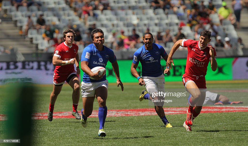 Gordon Langkilde of Samoa during the match between Samoa and Canada during day 2 of the HSBC Cape Town Sevens at Cape Town Stadium on December 11, 2016 in Cape Town, South Africa.