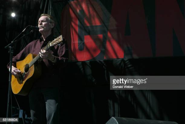 Gordon Lightfoot performs during 'Live 8 Canada' on July 2 2005 in Barrie Ontario Canada The free concert is one of ten simultaneous international...