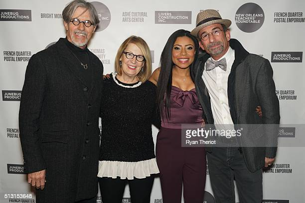 Gordon Lonsdale his wife Shalita Grant and James Hayman arrive on the red carpet at House of Blues on February 27 2016 in New Orleans Louisiana