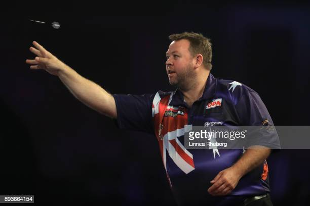 Gordon Mathers of Australia in action during his first match against Segio Asada during day two of the 2018 William Hill PDC World Darts...