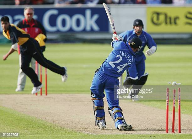 Gordon Muchall of Durham is bowled by Mohammed Ali of Derbyshire during the Twenty20 Cup match between Durham Dynamos and Derbyshire Scorpions at The...