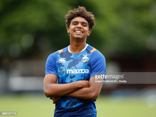 Gordon Narrier of the Kangaroos looks on during the North Melbourne Kangaroos training session at Arden St on December 4 2017 in Melbourne Australia