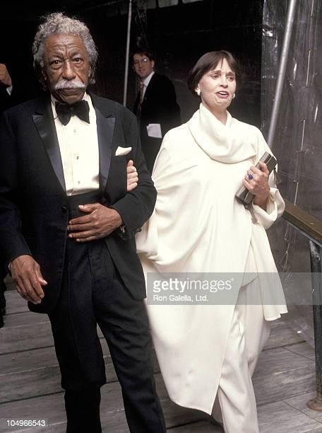 Gordon Parks and Gloria Vanderbilt during Vogue Magazine 100th Anniversary at New York Public Library in New York City New York United States