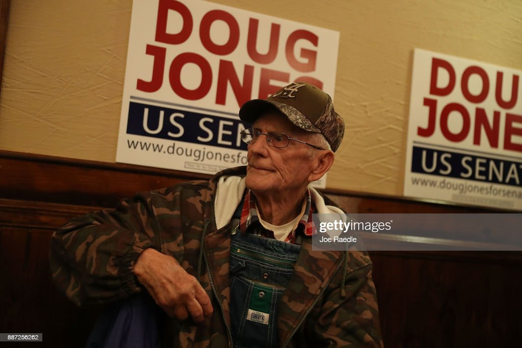 Gordon Pigg waits for the arrival of Democratic Senatorial candidate Doug Jones for a 'Women's Wednesday' campaign event on December 6, 2017 in Cullman, Alabama. Mr. Jones is facing off against Republican Roy Moore in next week's special election for the U.S. Senate.