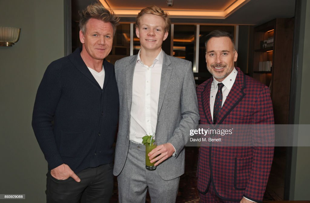 Gordon Ramsay, Alexander Dundas and David Furnish attend Alexander Dundas's 18th birthday party hosted by Lord and Lady Dundas on December 16, 2017 in London, England.