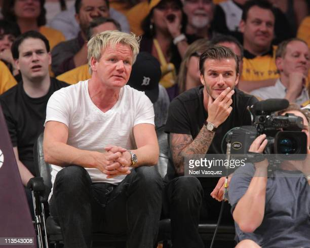 Gordon Ramsay and David Beckham attend the game between the Dallas Mavericks and the Los Angeles Lakers at Staples Center on May 2 2011 in Los...