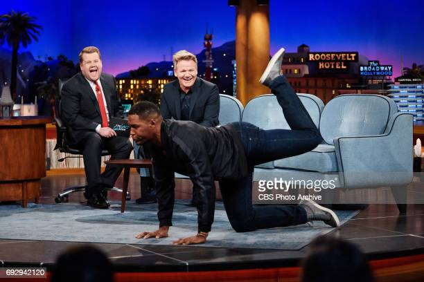 Gordon Ramsay and Michael Strahan chat with James Corden during 'The Late Late Show with James Corden' Monday June 5 2017 On The CBS Television...