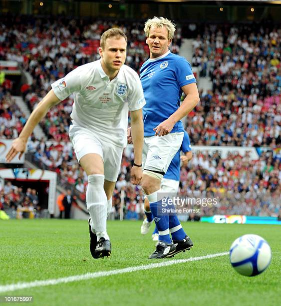 Gordon Ramsay and Olly Murs participate in Soccer Aid in aid of UNICEF at Old Trafford on June 6, 2010 in Manchester, England.