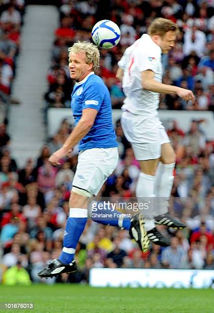 Gordon Ramsay and Olly Murs participate in Soccer Aid in aid of UNICEF at Old Trafford on June 6 2010 in Manchester England