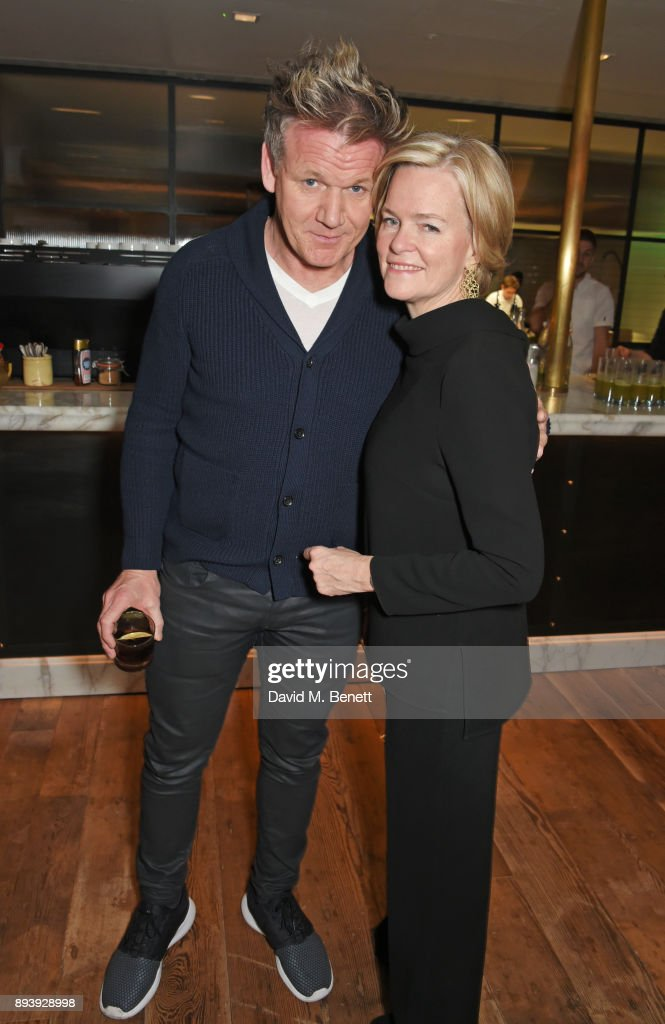 Gordon Ramsay (L) and Ruth Kennedy, Lady Dundas, attend Alexander Dundas's 18th birthday party hosted by Lord and Lady Dundas on December 16, 2017 in London, England.
