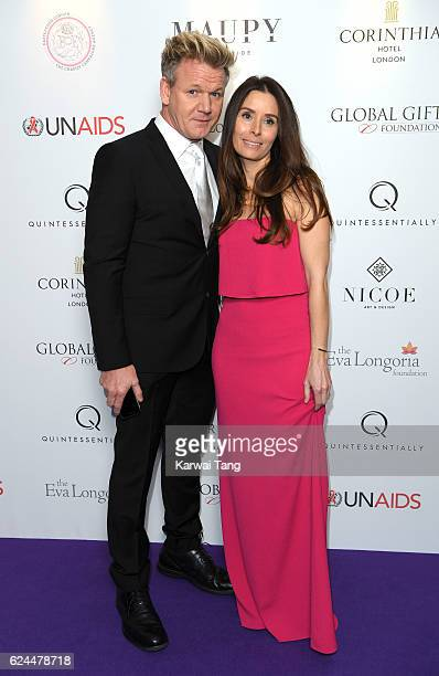 Gordon Ramsay and wife Tana attend the Global Gift Gala in partnership with Quintessentially on November 19 2016 at the Corithinia Hotel in London...