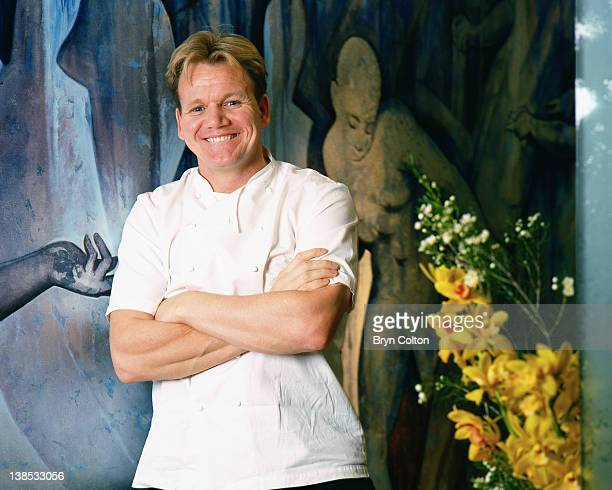 Gordon Ramsay Chef and Broadcaster stands and poses for a photograph in his restaurant 'Restaurant Gordon Ramsay in Royal Hospital Road London UK on...
