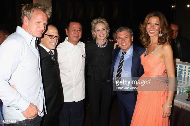 Gordon Ramsay guest Nobu Matsuhisa actress Sharon Stone Heather Kerzner and Sol Kerzner cut a cake at the Grand Opening of the new OneOnly Cape Town...