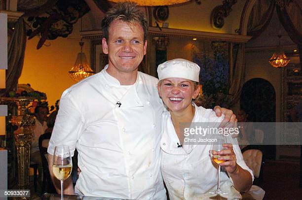 Gordon Ramsay poses for the cameras with Jennifer Ellison winner of reality television program 'Hell's Kitchen' at Brick Lane on June 6 2004 in...