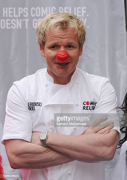 Gordon Ramsay serves up his own 'Seriously Good' curry at a onedayonly popup stall in aid of Comic Relief at Ely's Yard on February 4 2011 in London...