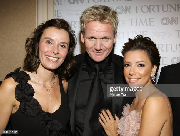 Gordon Ramsay with wife Tana Ramsay and Eva Longoria Parker attend the PEOPLETIMEFORTUNECNN White House Correspondents dinner cocktail party at...