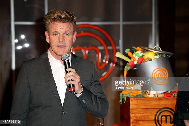 Gordon Ramsey of Masterchef Celebrates 100 Episodes at Walt Disney Studio Lot on February 5 2015 in Burbank California