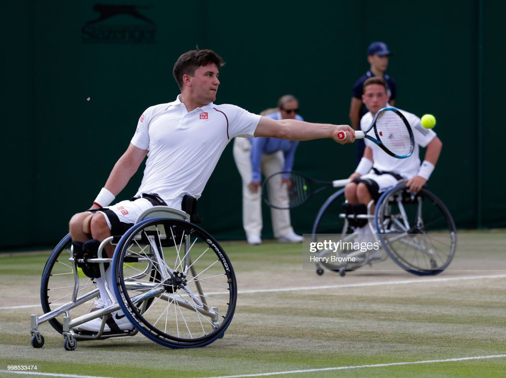 Gordon Reid (l) and Alfie Hewett of Great Britain during the mens doubles wheelchair final against Stefan Olsson of Sweden and Joachim Gerard of Belgium at the All England Lawn Tennis and Croquet Club on July 14, 2018 in London, England.