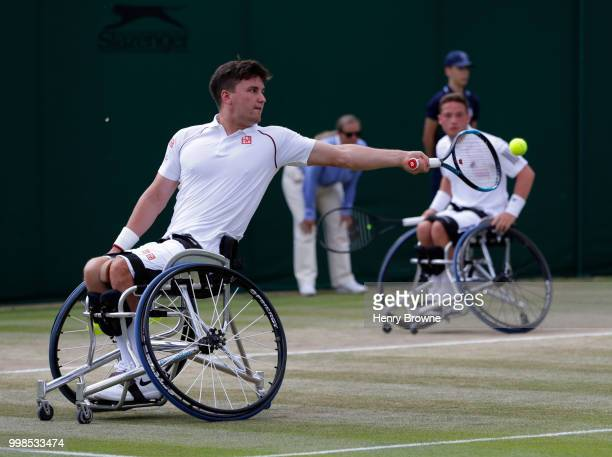 Gordon Reid and Alfie Hewett of Great Britain during the mens doubles wheelchair final against Stefan Olsson of Sweden and Joachim Gerard of Belgium...