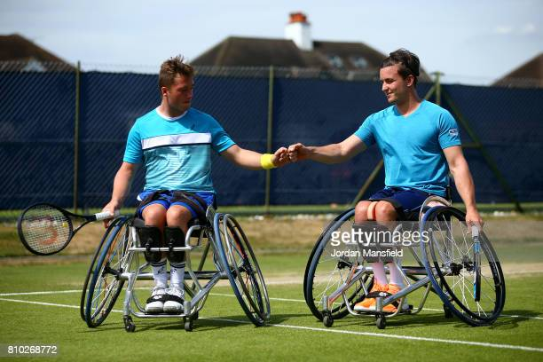 Gordon Reid and Alfie Hewett of Great Britain during their Men's Doubles Match against Stephane Houdet of France and Stefan Olsson of Sweden during...