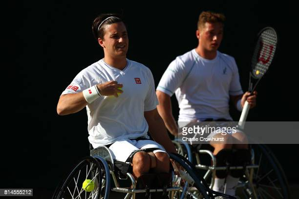 Gordon Reid and Alfie Hewett of Great Britain in action during their men's doubles wheel chair semi final match against Gustavo Fernandez of...