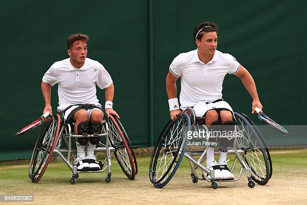 Gordon Reid of Great Britain and Alfie Hewett of Great Britain in action during the Men's Wheelchair Doubles Final against Stephane Houdet of France...