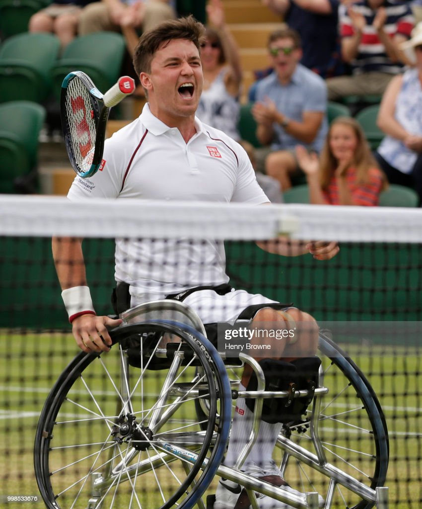 Gordon Reid of Great Britain celebrates after winning the mens doubles wheelchair final against Stefan Olsson of Sweden and Joachim Gerard of Belgium at the All England Lawn Tennis and Croquet Club on July 14, 2018 in London, England.