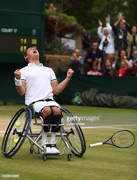 Gordon Reid of Great Britain celebrates victory during the Men's Wheelchair singles final against Stefan Olsson of Sweden on day thirteen of the...