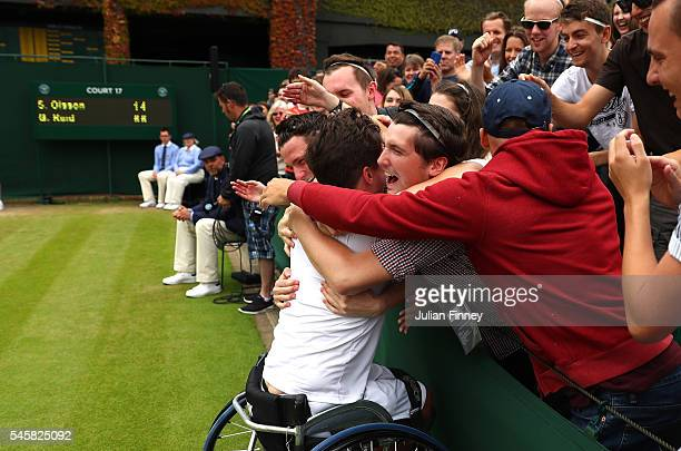 Gordon Reid of Great Britain celebrates victory with supporters during the Men's Wheelchair singles final against Stefan Olsson of Sweden on day...