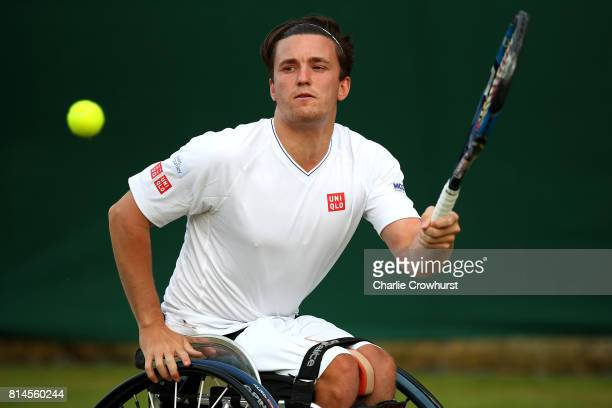 Gordon Reid of Great Britain celebrates winning his men's doubles wheel chair semi final match against Gustavo Fernandez of Argentina and Shingo...