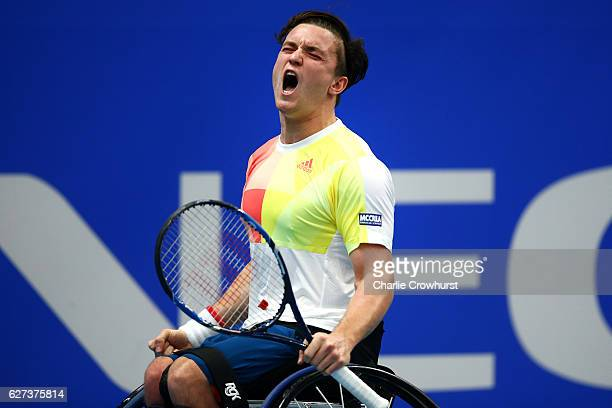 Gordon Reid of Great Britain celebrates winning his mens semi final match against Stephane Houdet of France and becoming world number one on Day 4 of...